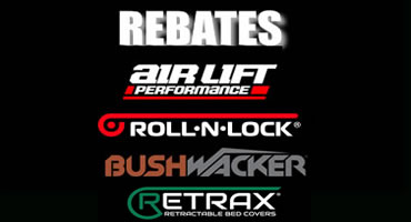 Rebate with logos Air Lift, Roll N Lock, Bushwacker nd Retrax